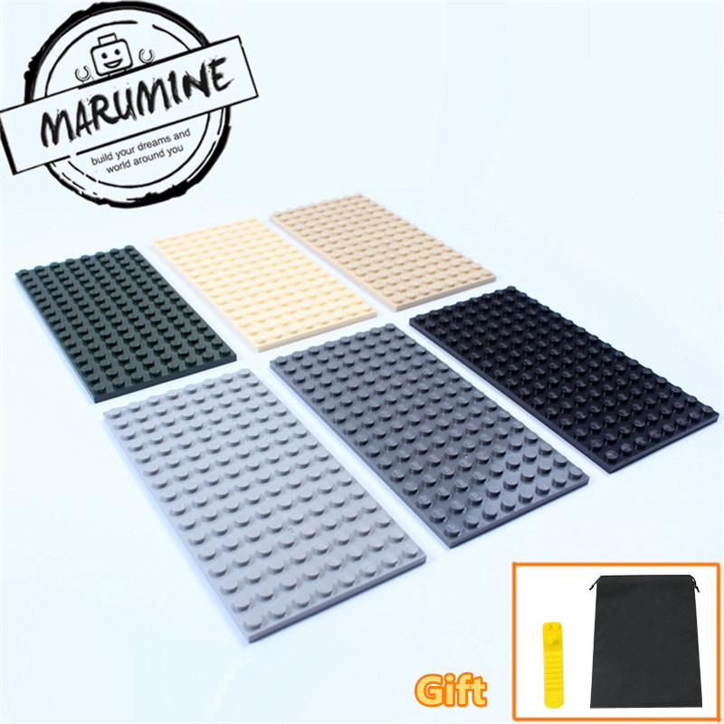 MARUMINE Plate 8 x 16 boys and girls toys compatible building blocks set base plate DIY Classic Educational bricks new big size 40 40cm blocks diy baseplate 50 50 dots diy small bricks building blocks base plate green grey blue