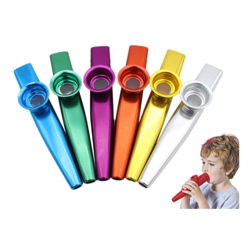 1 Set Mix 6 Colors Metal Kazoo Musical Instruments Good Companion A Guitar Ukulele Great Gift For Kids Music Lovers