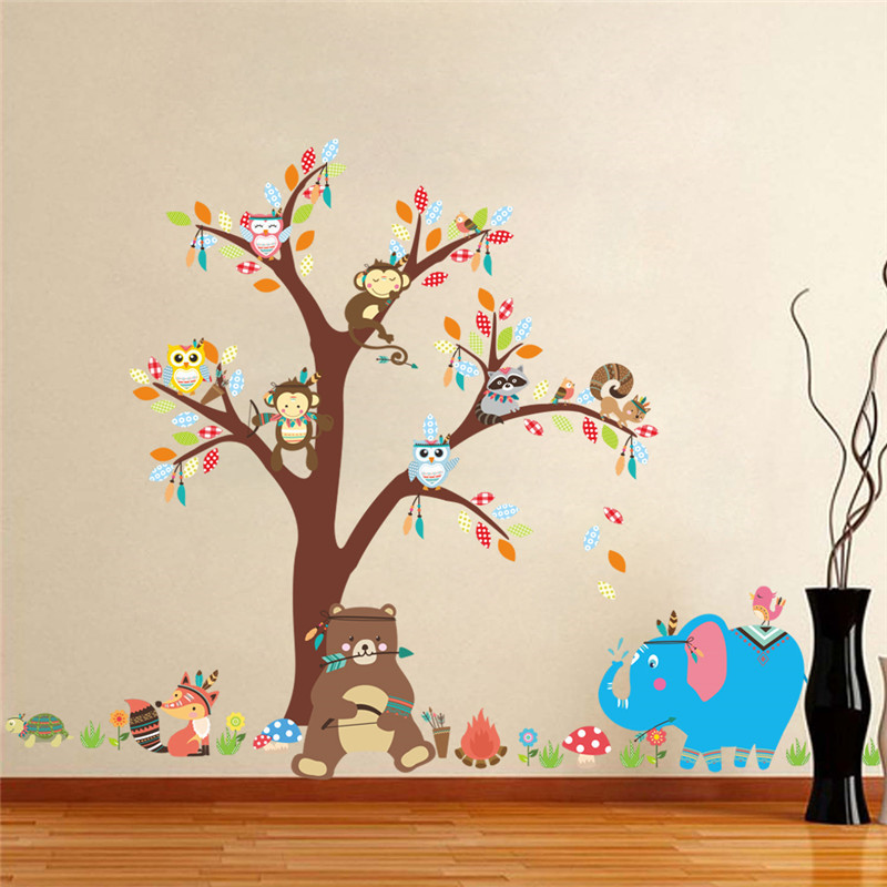 jungle wild forest animals monkey bear elephant tree wall stickers boys children bedroom decor wall decals. beautiful ideas. Home Design Ideas