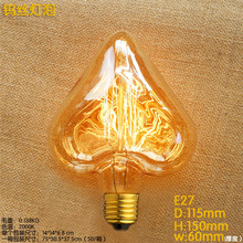 40W 220V E27 Hearted Shaped Lampada Edison Bulb Light Retro Lamp Bombilla Vintage Ampoules Decoratives