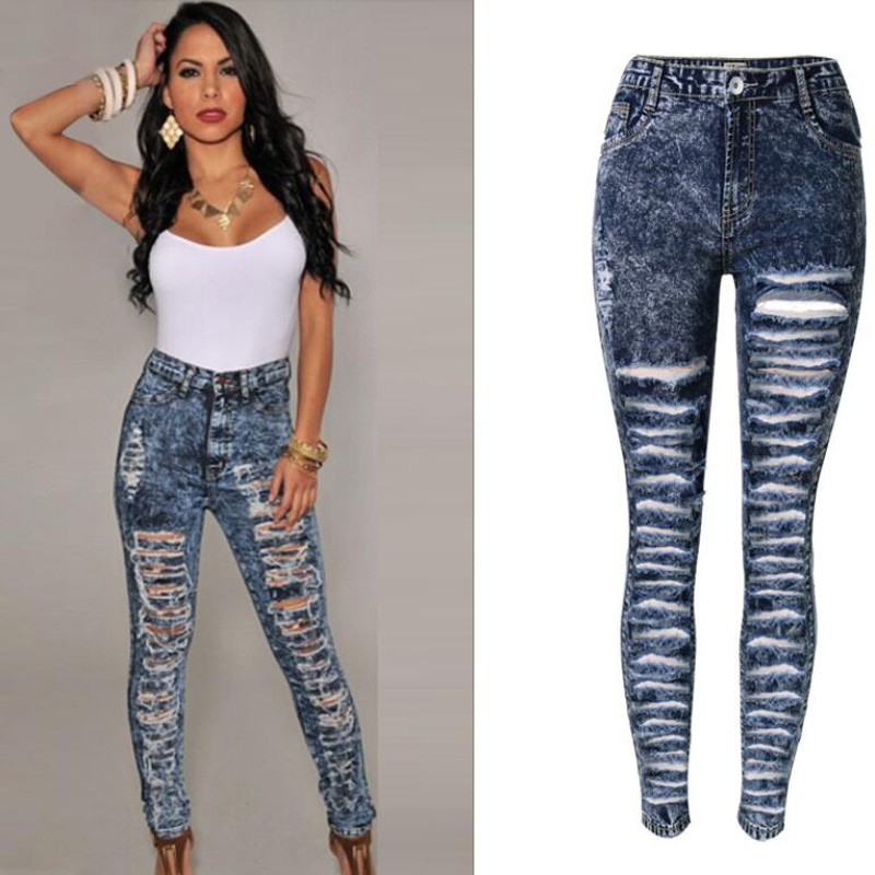 2017 Novas Mulheres Denim Calças de Cintura Alta Calça Jeans Lápis Magras calça Azul Escuro Moda Casual Rasgado Buraco Jeans Rasgados Para mulheres