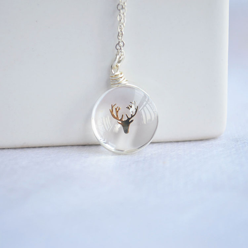Gold Color Deer Head Glass 925 Sterling Silver Chain Statement Choker Necklace Women Vintage Boho Jewelry