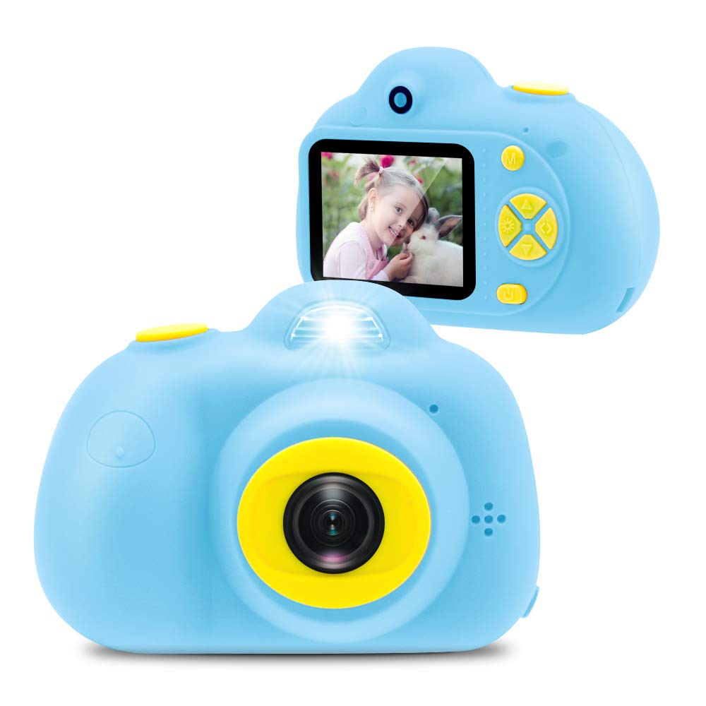 Kids Camera 8.0MP Rechargeable Digital Front and Rear Selfie Camera Child Camcorder Toys Gift 16GB Memory Card Included (Blue)