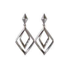 Fashion temperament hollow out double geometric metal earrings personality women long pendant jewelry wholesale