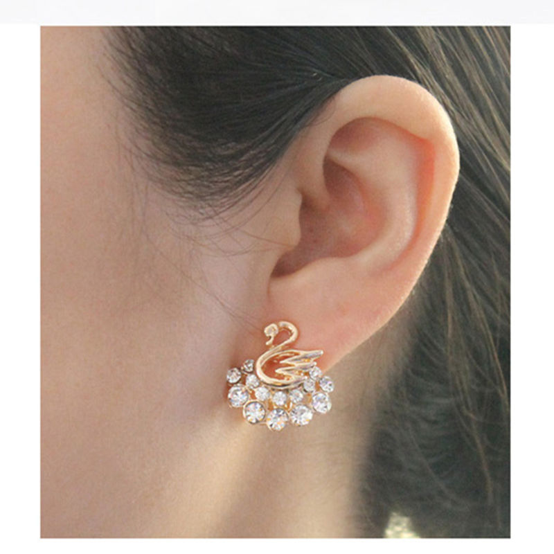 Korean Fashion Gold Plated White Rhinestone Swan Earrings Women Stud Whole In From Jewelry Accessories On