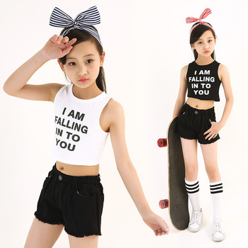 2 Piece Set Girls Summer Clothes White Black Cotton Crop Top And Shorts / Legging Suit Girl Outfit Kids Hip Hop Dance Clothes diy crop top
