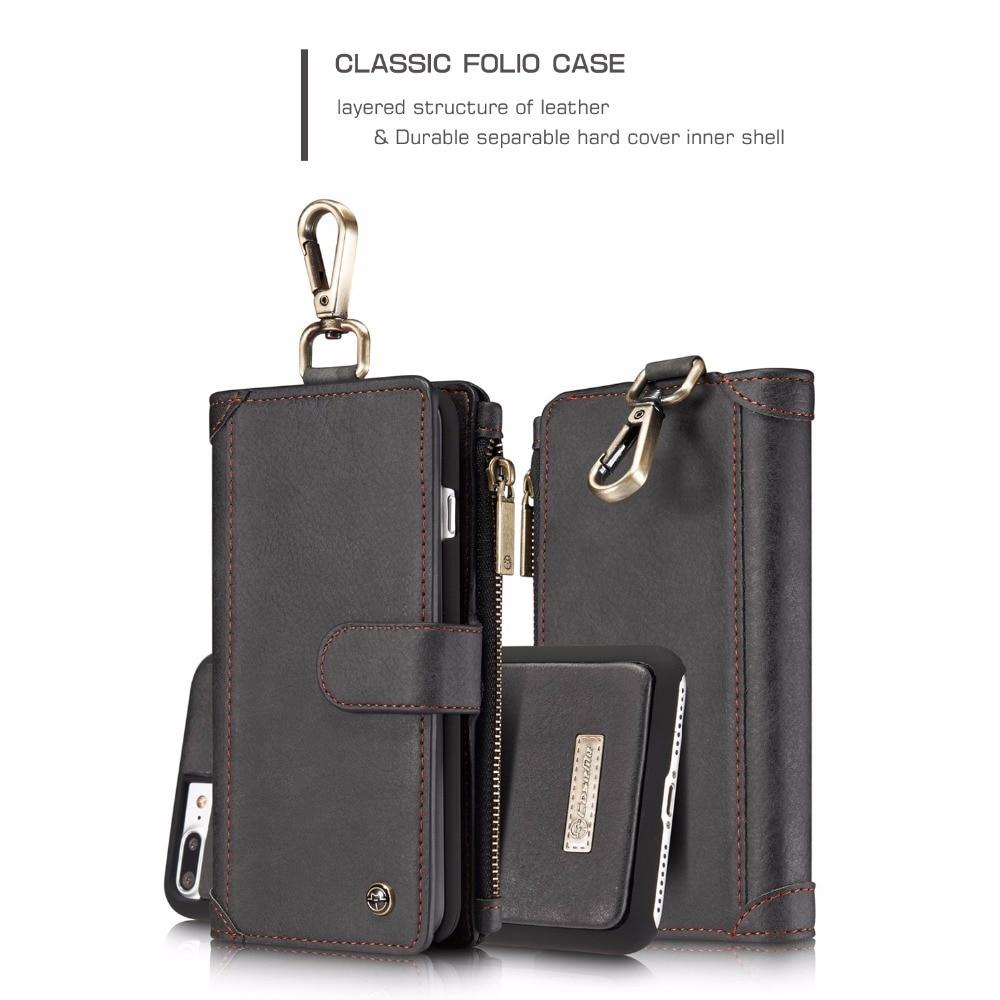 Caseme Многофункциональный слот для карты Денежные молнии бумажник чехол для iPhone 7 Plus 5.5 металлический зажим Разделение кожа съемная внутренн...