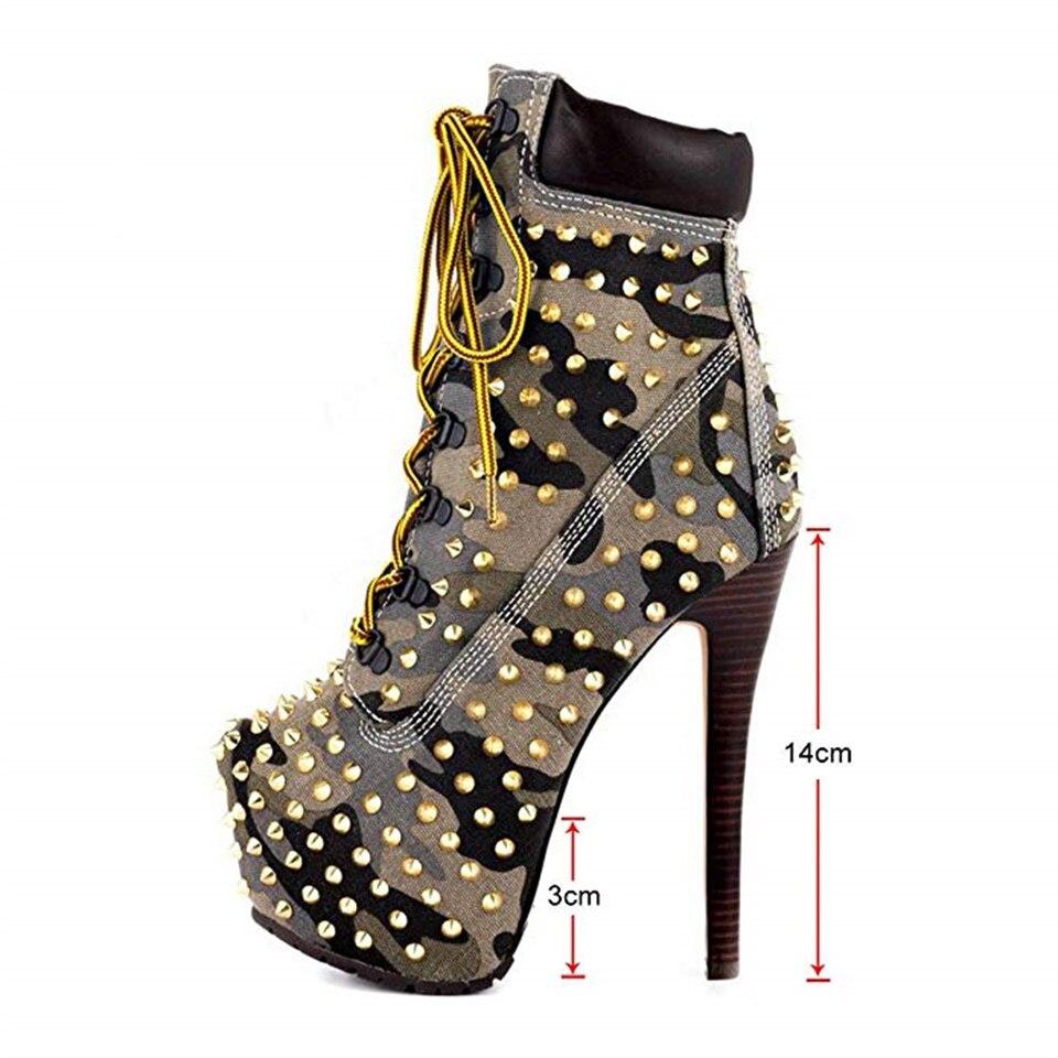 Модные женские ботинки; сезон весна осень красивые декоративные заклепки на высоком каблуке 14 см с перекрестными ремешками; женские ботинки на платформе - 6