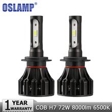 Oslamp COB H7 LED Headlight Bulbs 72W 8000lm 6500K Car Auto