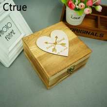 Customized Name DIY Wedding Ring Box With Lock Engagement Personalized Wood Bearer Storage Favor Gifts Holder