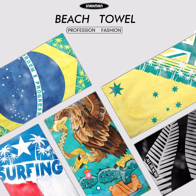 Australia Brazil Chile Mexico New Zealand National Flag Beach Towel For Summer Holiday Compact Swimming Diving
