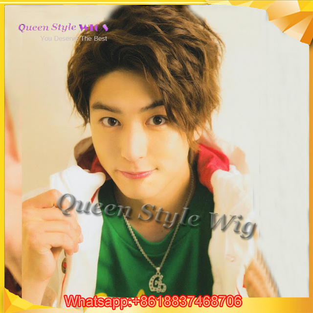 Japan Cute Boy Style Short Curly Hair Wig Polished Ombre Brown Color