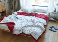 WRMHOM Washed Cotton Red Wihte Plaid Summer Thin Quilt Spring Blanket 150 200cm 200 230cm Quilted