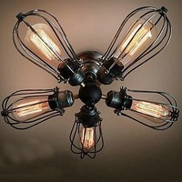 American Retro Edison Bulb Vintage Ceiling Light Lamp With 5 Lights For Home Lighting Free Shipping
