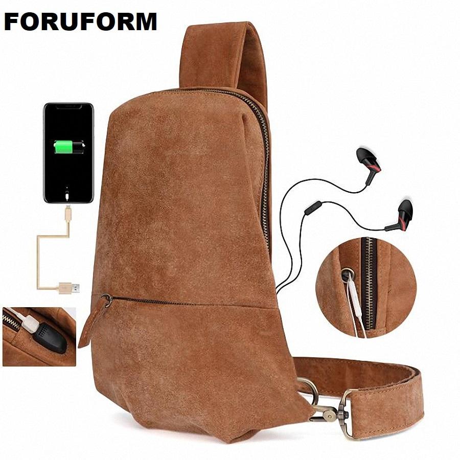 2018 Famous Brand New Men's Chest Bag Genuine leather Men Crossbody Bag USB Charge Sling Shoulder Bags For Man Brown LI-2212 цена