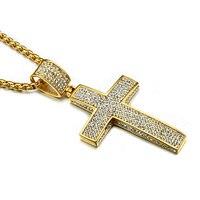 HIP Hop Bling Bling Or Couleur Croix Colliers 60 CM En Acier Inoxydable Chaîne Iced Out Cristal Pendentifs pour Hommes Christian bijoux