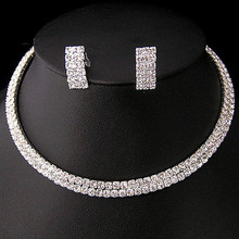 Silver Wedding Jewelry Sets 2 Rows Clear Rhinestone Diamante Wedding Choker Necklace and Earrings Sets