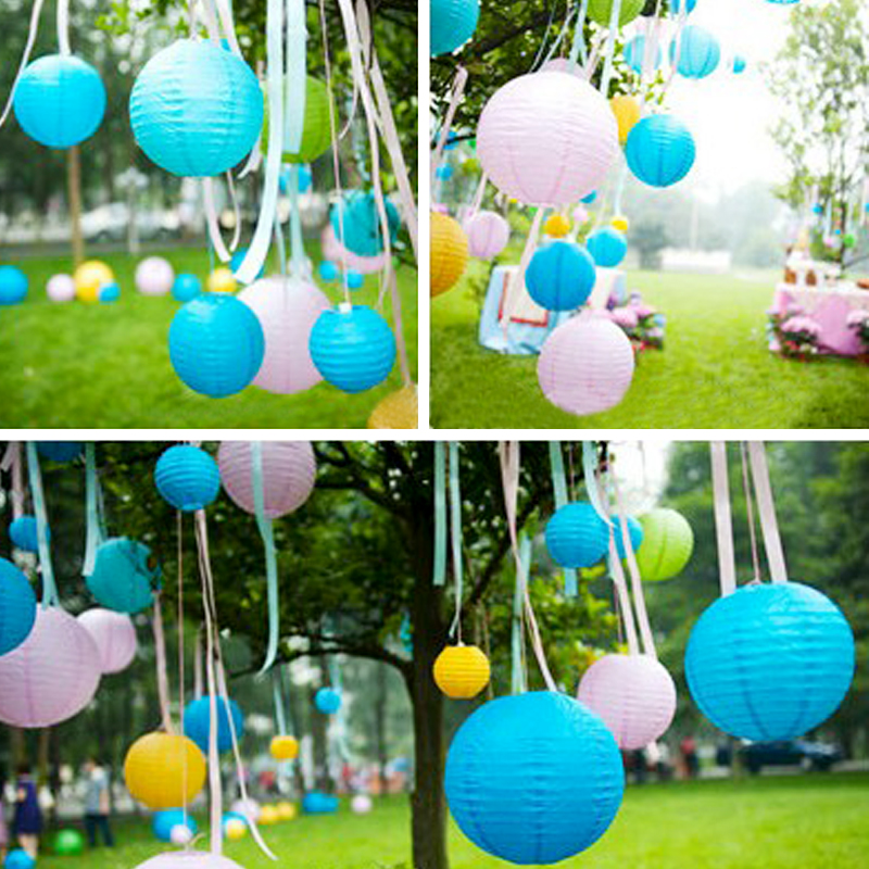 3/8/12 inch Multicolour Paper Lantern Pendant Light Wedding Decoration DIY Paper Lantern ...