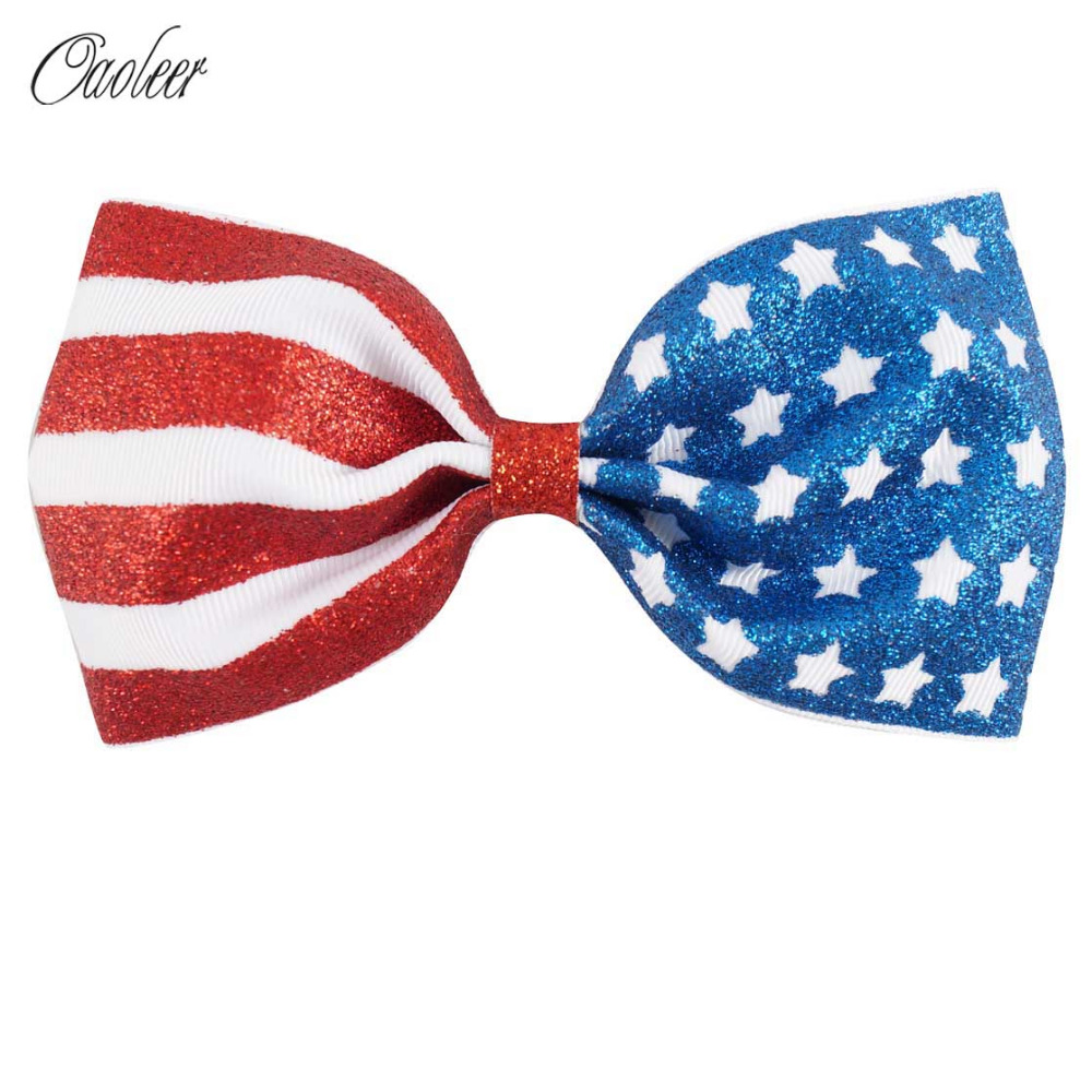 Hair Accessories Glitter - 5 pieces 5 4th of july royal glitter hair bow handmade flag bows hairpin hairgrips