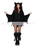 2016 Halloween Karneval Kostüm für Frauen Erwachsene Bat Hoodie Jumpsuit Pyjamas Partei Cosplay Kostüm Heißer verkauf Geben verschiffen