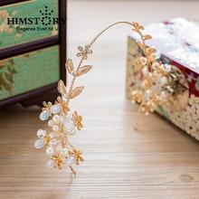 лучшая цена HIMSTORY Golden Leaves Baroque Bridal Tiaras Sunflower Pearl Crown Headbands wedding Hair accessories Bridal Headpiece Hairwear