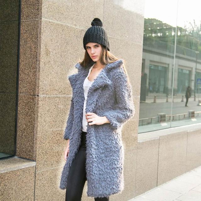 Casaco longo para As Mulheres Ocasional de Lã Cashmere Mulheres Trench Coat Inverno Quente Luva Cheia Mulheres Casaco Trench Feminino