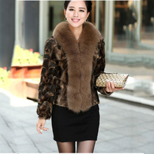 piece short mink fur jacket with big fox fur collar lady fashion coat high quality luxury outwear free shipping winter garment