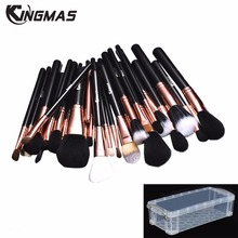 Kingmas 29 Pcs Professional Makeup Brush Set Goat hair Kabuki Foundation Eyeliner Blush Contour Powder Cream Make up Brush Kit