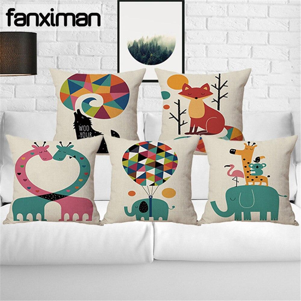 Children Room Cushion Cover Animal Print Linen Square Pillowcase Home Decorative Sofa Cushions Elephant Giraffe Pillows 45*45 CM