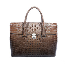 Men's crocodile briefcase Fashion Handbags Genuine Leather Messenger bag  Famous Brand vintage Laptop Bags for 14 inch Computer