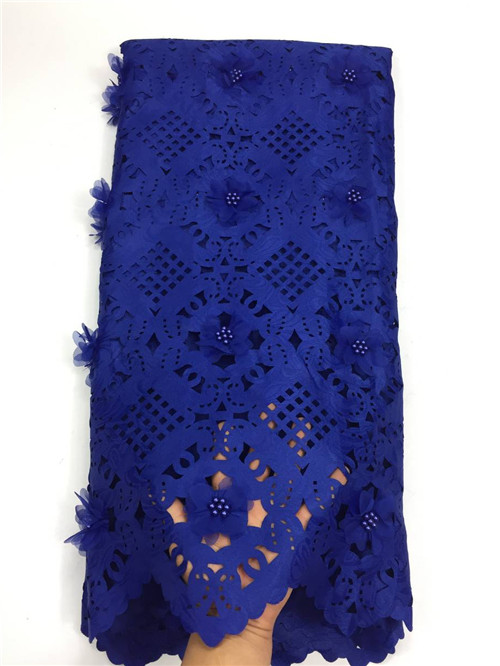 3d flower New arrival african embroidered lace fabrics high quality royal blue guipure lace fabric for weddding3d flower New arrival african embroidered lace fabrics high quality royal blue guipure lace fabric for weddding
