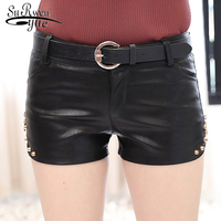 2019 new fashion super fire women's PU short pants zip small fresh leather pants close fiting and slim women's pants 1898 50