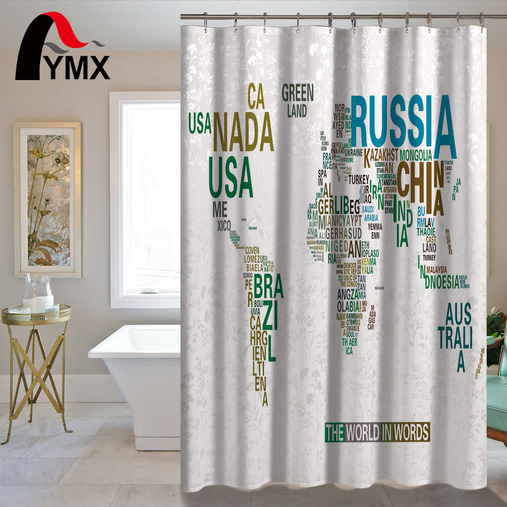 Waterproof Simple World Map Shower Curtain For The Bathroom ...