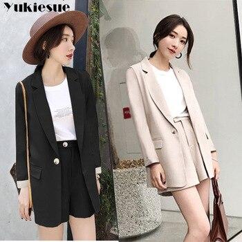 0114b6508 Elegante Oficina dama corto traje de las mujeres de 2 piezas conjunto beige negro  chaqueta Blazer + alta cintura Mini trajes de pantalón mujer chándal