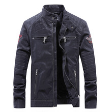 High Quality Faux Leather Jacket Men Vintage Autumn Winter New Motorcycle Business Casual Mens Biker Coat WN48