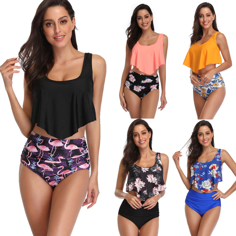 VOWDA 2019 Bikini Sets Women Swimsuit High Waist Halter Bathing Suit Sex Swimwear Push Up