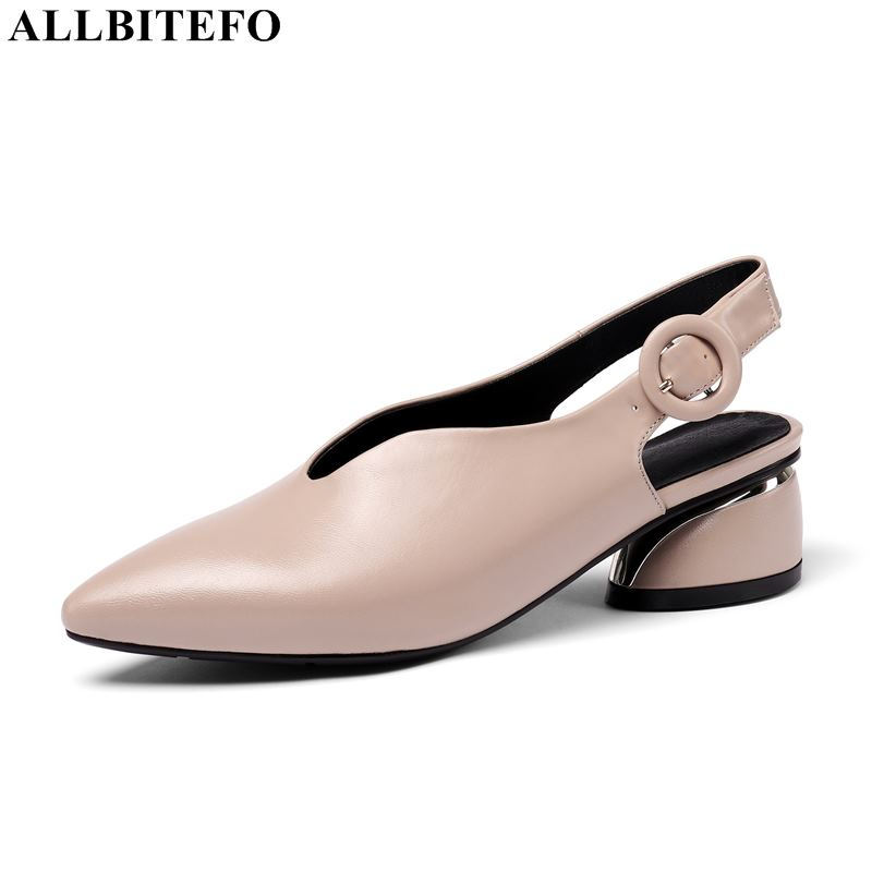 ALLBITEFO high quality genuine leather pointed toe high heels women shoes fashion buckle women high heel shoes women heelsALLBITEFO high quality genuine leather pointed toe high heels women shoes fashion buckle women high heel shoes women heels