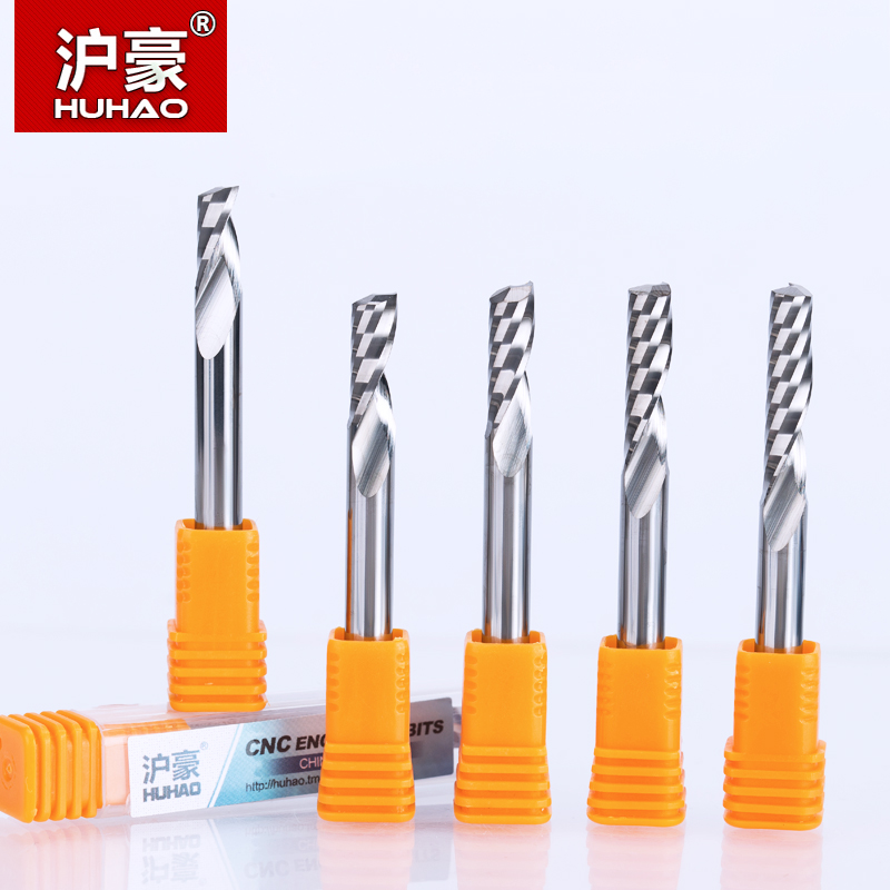 HUHAO 1pc 6mm One Flute Spiral Engrving Bits CNC End Mill Tungsten Carbide Router Tool PCB Milling Cutter Router Bits for Wood huhao 1pc 4mm 2 flutes spiral with blade milling cutter cnc end mill router bit for wood tungsten carbide router tool fresa cn