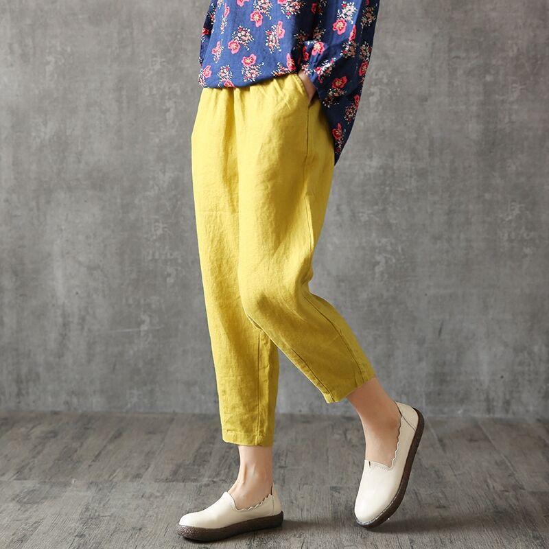 Women's Linen Pants Harem Female Summer Cotton Linen Trousers Women Plus Size Elastic Loose Home Wear Capris White Black Color