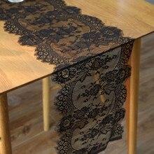 Camino de mesa de encaje blanco negro de 14x118 pulgadas, tejido para el hogar, decoración de Fiesta Temática Boho, diseño Floral, aspecto vintage 5BB5609