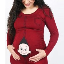 L-4XL Maternity T-shirts Funny Cute Baby Peeking Out Tops Maternity T Shirts Pregnancy Tees Maternity Clothes For Pregnant Women