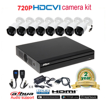 Dahua original 720P DH-HAC-HFW1000R waterproof CVI IR Bullet Security Camera with H.264 8CH CVI DH-XVR4108HS camera kit