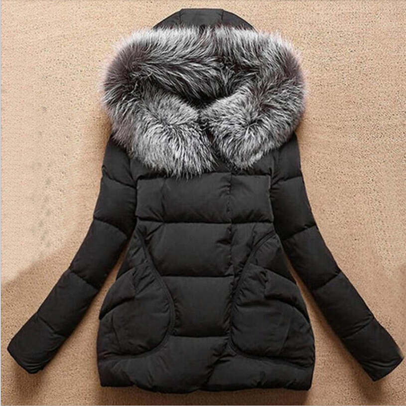 ФОТО 2016 Winter Women Jackets Cotton Full Sleeve Covered button with pockets women Hat with Feathers Ultra Light Down Jacket w-042