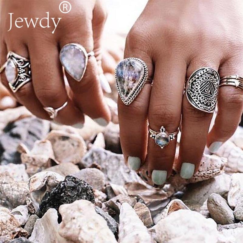 7PCS/SET Vintage Big Opal Crystal Rings Set for Women Girl Bohemian Antique Silver Color Midi Rings Set Floral Knuckle Summer