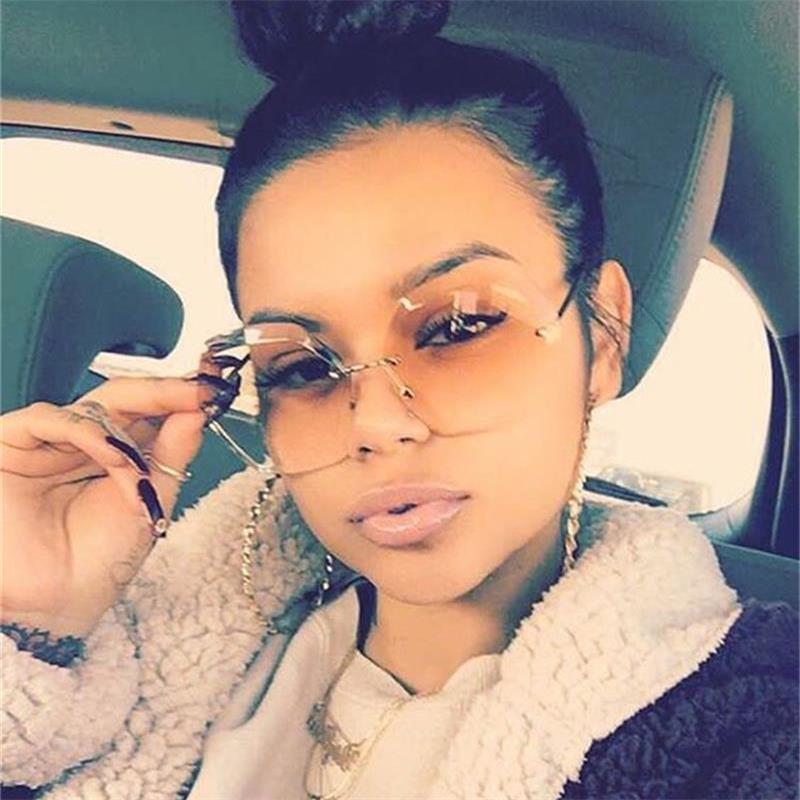 Rimless Round Sunglassess Transparent Gradient Glasses Big Shades Luxury Brand Designer Crystal Fashion Woman Sunglasses UV400