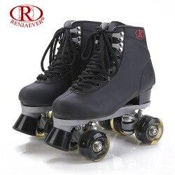 Reniaever roller skates double line skates black women lady adult black led lighting 4 wheels two.jpg 250x250