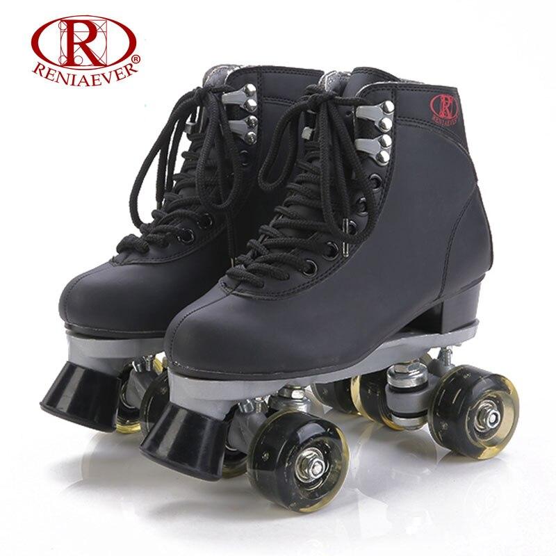 Reniaever роликовые коньки двойной линии коньки Черный Для женщин леди взрослых черный LED Освещение 4 Колёса две линии катание Обувь patines