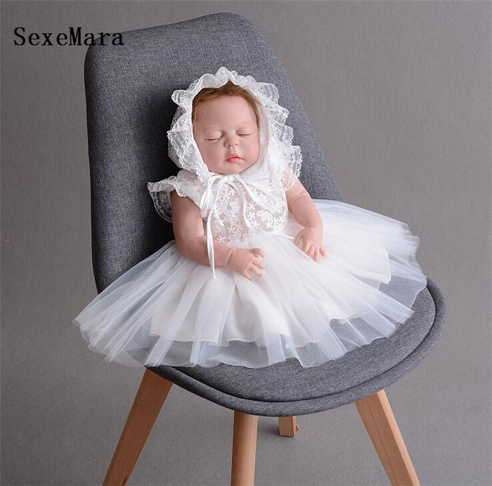 Real Photo Ivory Lace baby girls dress christening gown cake dresses for party occasion baby girl 1 year birthday dress with Hat