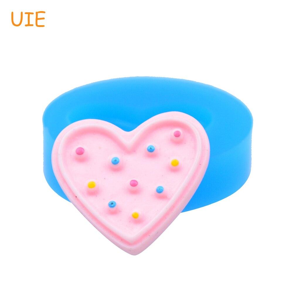 QYL051U 21,6 мм Сердце Cookie Силиконовые Push Mold-для украшения торта, помады, выпечки инструменты, ювелирные изделия, конфеты, смола, духовка безопасн...