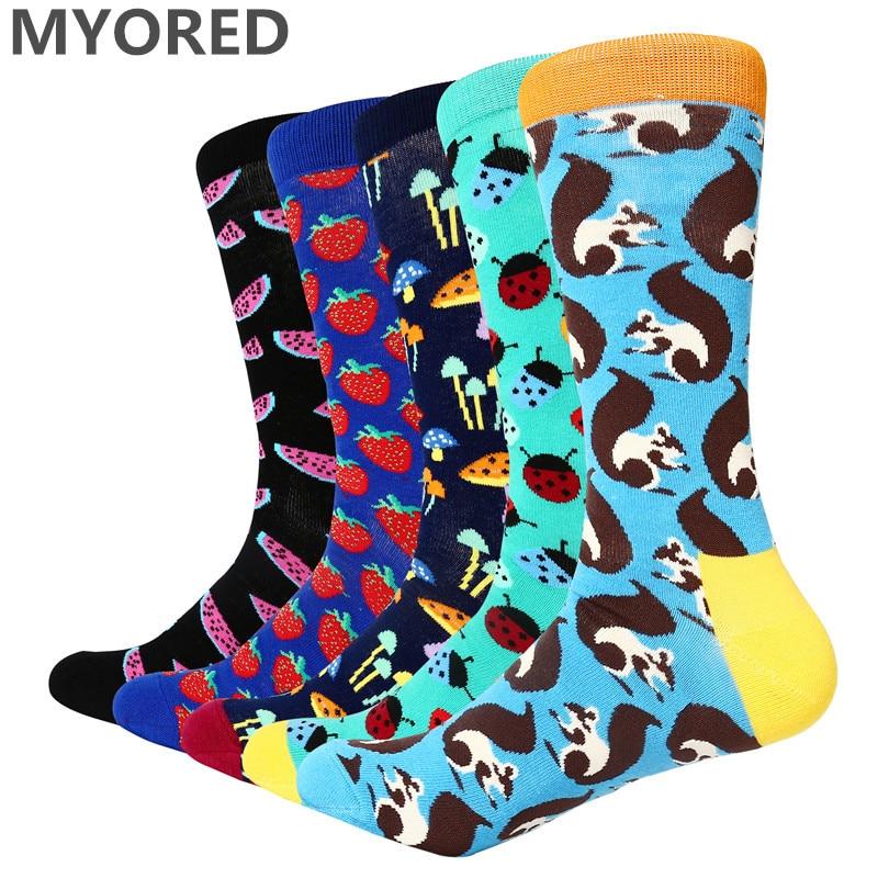 MYORED 5 Pairs Men Socks Combed Cotton Colorful Pattern Cartoon Squirrel Mushroom Watermelon Strawberry Ladybug Men's Funny Sock